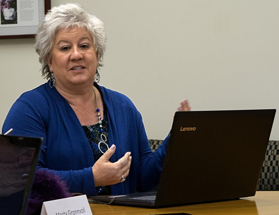 Julie Dietz is the chair of the health promotion department. Dietz presented four proposals to the Council on Academic Affairs at its meeting Thursday, all of which were centered around the proposal for a new departmental health promotion honors program.