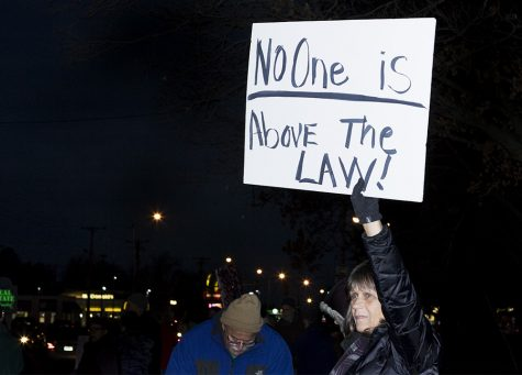 "Shelley Epperson, a Mattoon resident, holds up a sign that says ""No one is above the law!"" during the Rapid Response Protest Thursday night at Morton Park. This was a part of a large amount protests throughout the country by the Nobody is Above the Law Network. The protest is against President Donald Trump's recent appointment of acting Attorney General Matthew Whitaker."