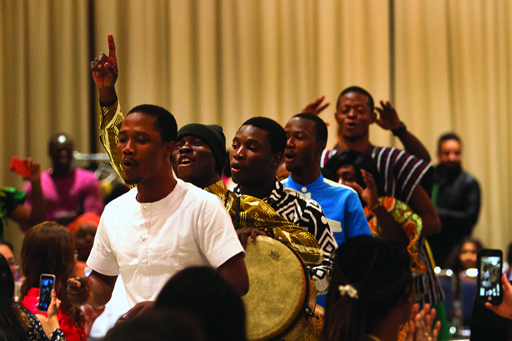 Students from Ghana performed Ghanaian Jama at the 2018 Global Cultural Night Friday in the University Ballroom of the Martin Luther King Jr. University Union.