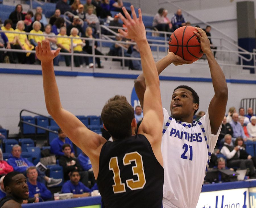 Eastern junior forward Braxton Shaw shoots the ball in Eastern's 104-60 loss to Fort Wayne on Wednesday night in Lantz Arena. Eastern (3-4) travels to face Chicago State on Saturday.
