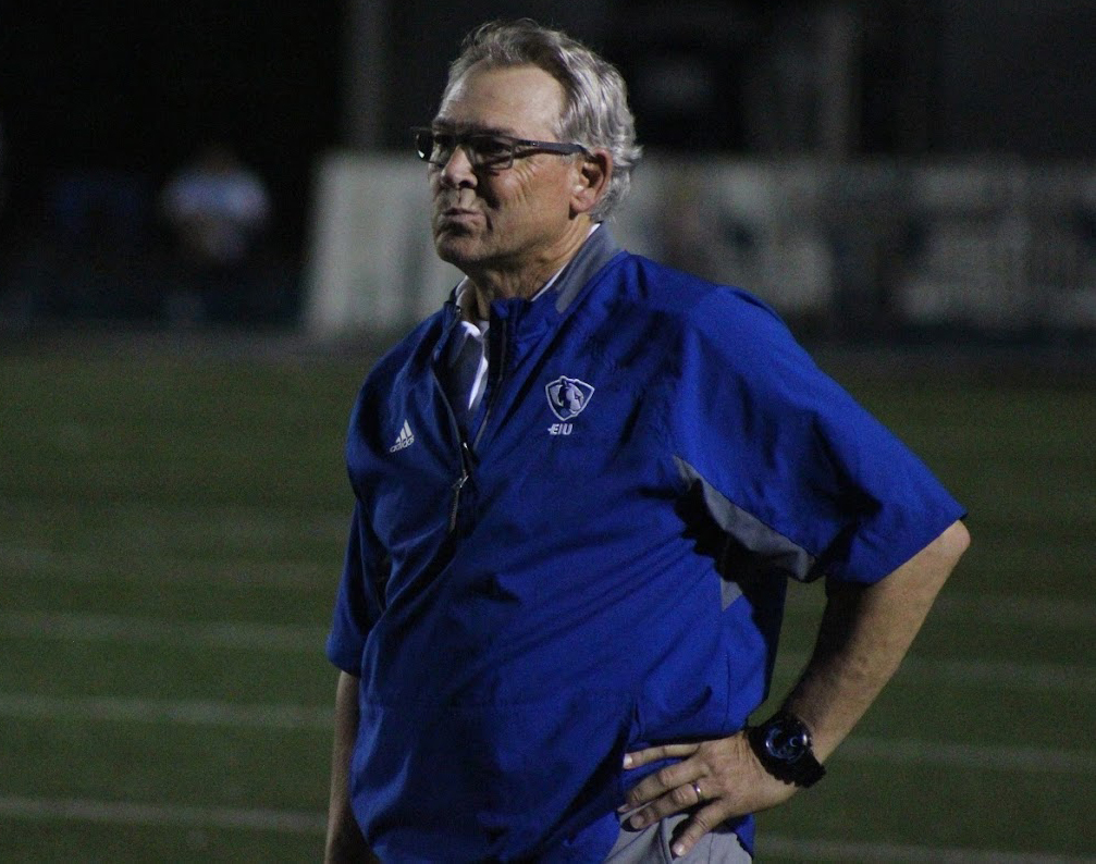 Former Eastern football head Coach Kim Dameron looks at the field in dissapointment during the team's 48-41 loss to Murray State on Oct. 6. Dameron's contract was not renewed following the team's 3-8 season, and a search for the new coach is underway.