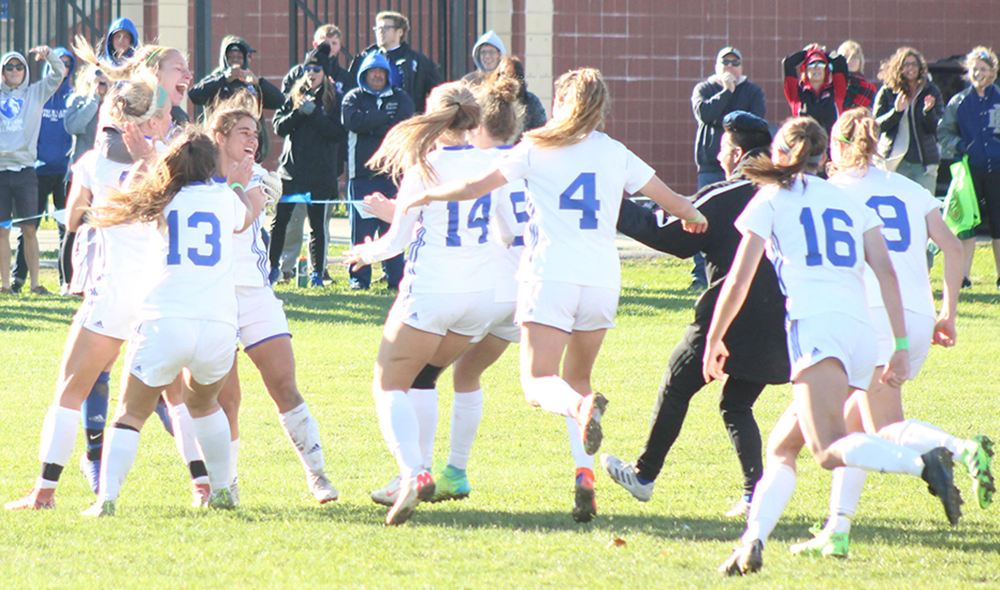 Eastern's women's soccer team celebrates a tournament win on Oct. 11 against Southeast Missouri at Lakeside Field. The Panthers' won six games this season, their highest total since 2013.