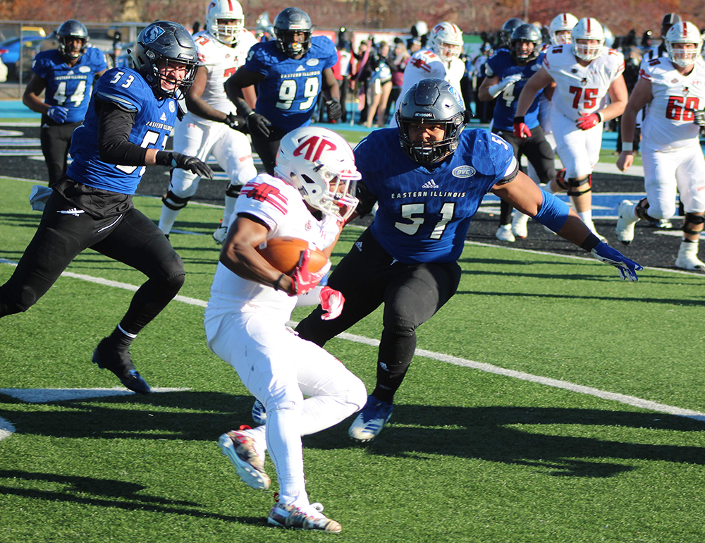 Eastern linebacker Dytaroius Johnson prepares to hit an Austin Peay all carrier in the Panther's 55-21 win over the Governors on Nov. 11. Eastern is 3-4 in conference play and has a chance to move to 4-4 Saturday against Southeast Missouri.