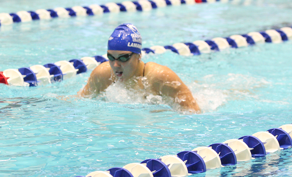 Eastern senior Caro Lamarque swims in a meet on Oct. 19 in the Padovan Pool against Saint Louis. Eastern lost 170-92 and is 0-4 this season.