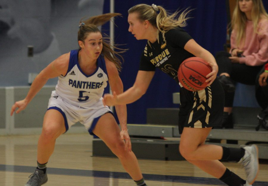 Eastern redshirt-senior guard Grace Lennox plays defense in the Panthers' 72-63 win on Nov. 15 in Lantz Arena.