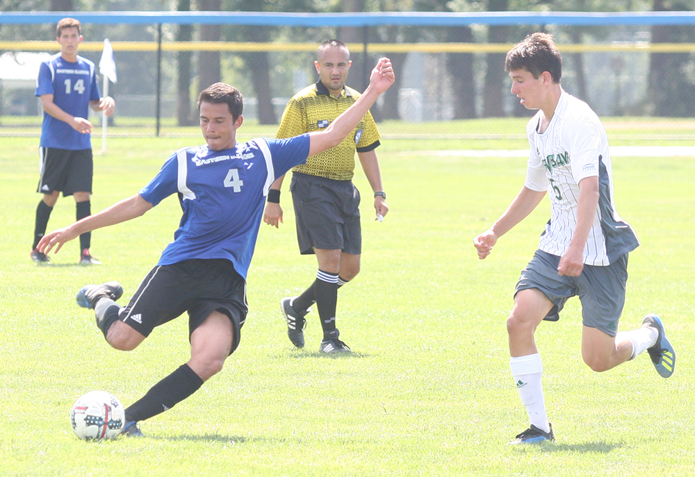 Matheus Santos winds up for a shot during Eastern's 1-0 loss to Green Bay at Lakeside Field on Sept. 2.