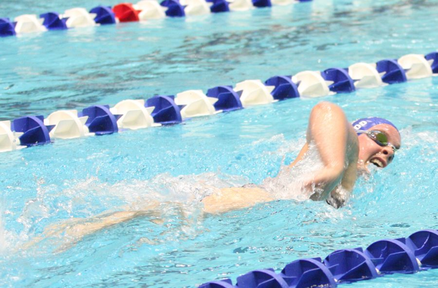 Lindsey+Wood+competes+in+the+distance+freestyle+competition+during+a+meet+against+St.+Louis+University+on+Oct.+19+at+the+Padovan+Pool.