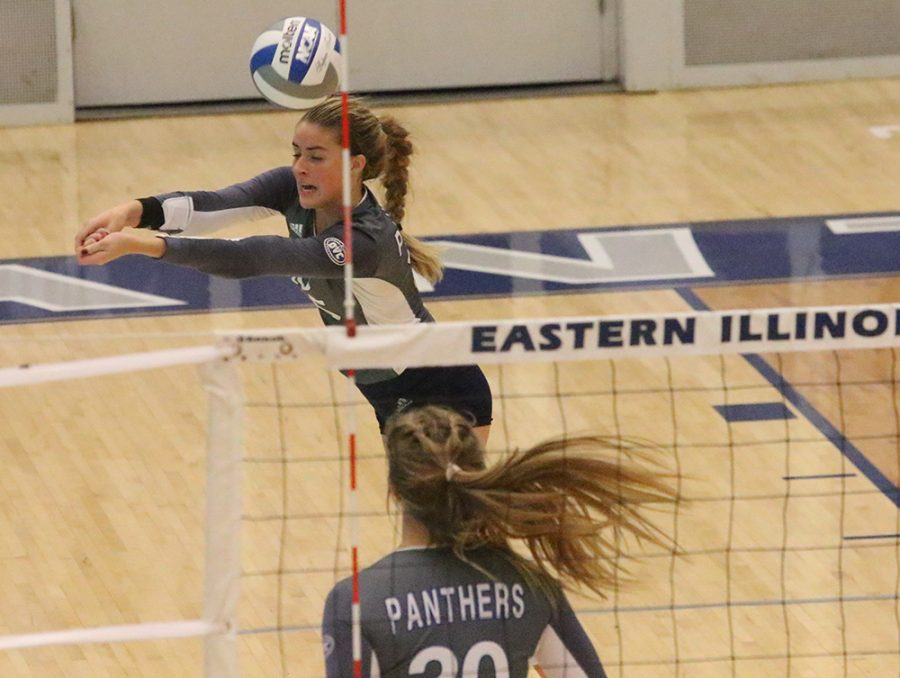 Laurel Bailey passes the volleyball to a teammate during Eastern's 3-0 victory over Southern Illinois Edwardsville in Lantz Arena on Sept. 19.