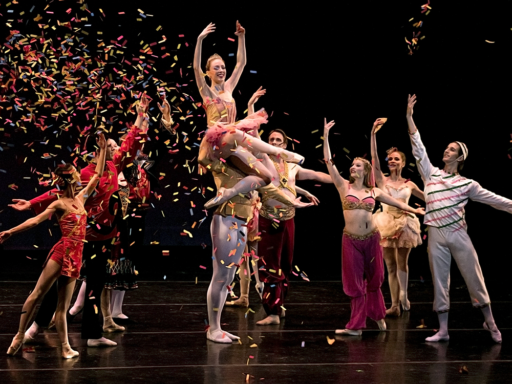 "Members of the St. Louis Ballet Company perform in the Theatre at the Doudna Fine Arts Center Saturday eventing. ""The confetti, I was not expecting that,"" Usher Amanda Kiessling said. ""Then when they put the lights back and it was still coming down when the bowed I was like 'That's so pretty.'"""