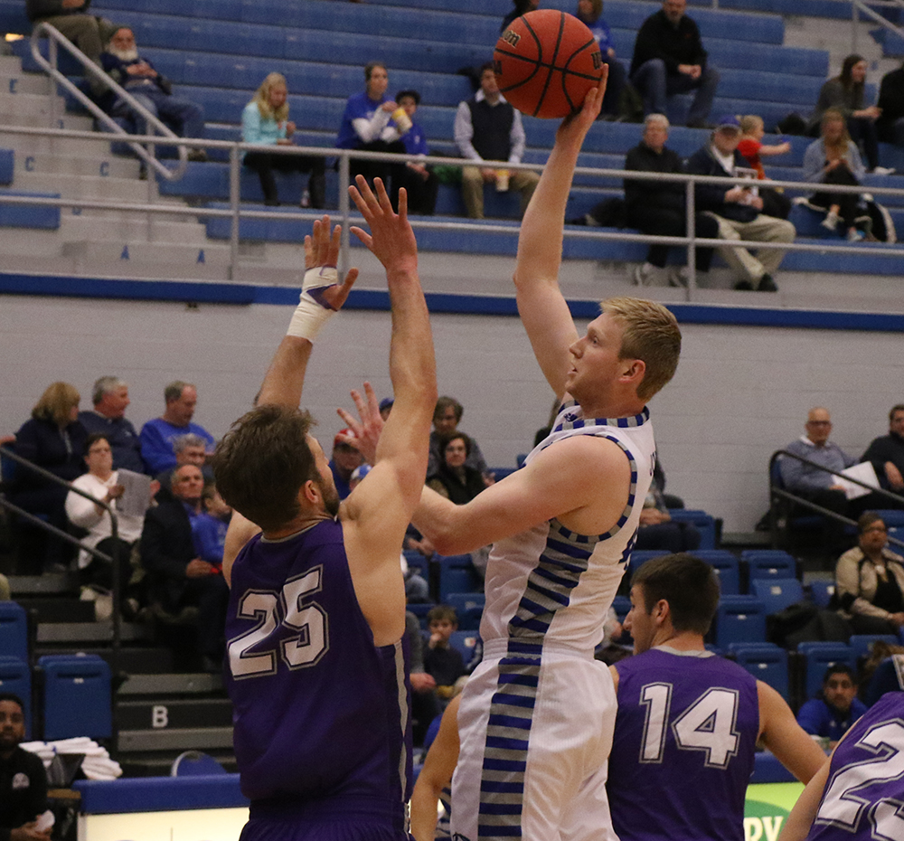 Eastern forward Lucas Jones puts up a shot in the Panthers 90-37 win over Fontbonne on Tuesday night in Lantz Arena. The 90 points was the most Eastern has scored in a game this season.