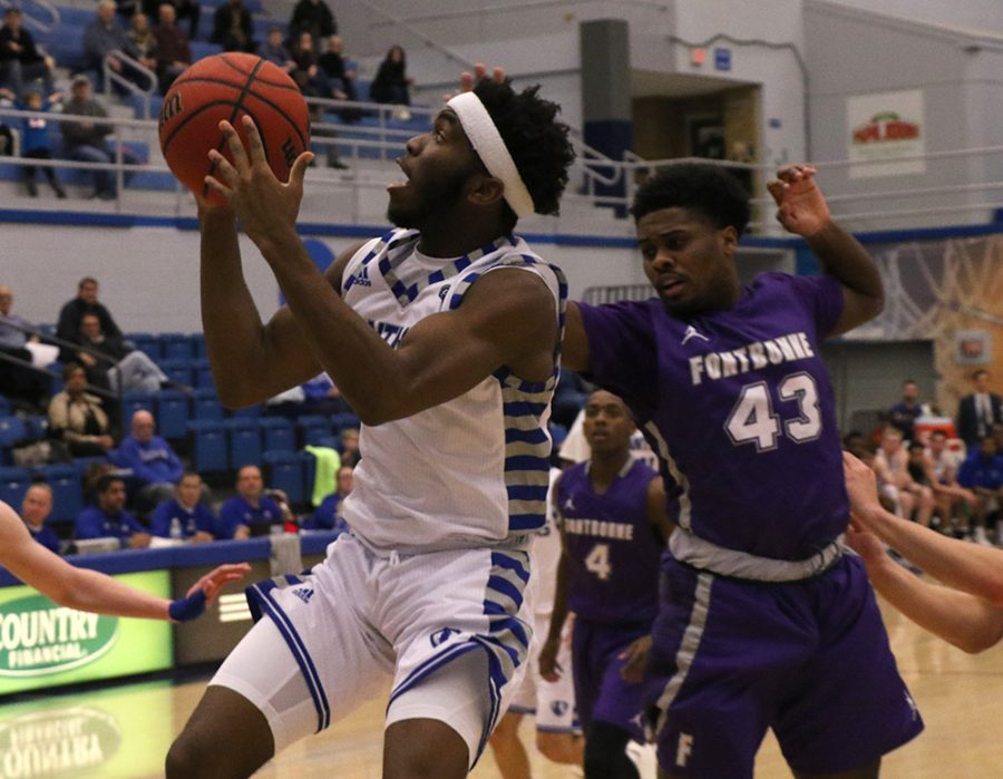 Eastern sophomore Kashawn Charles puts up a shot in Eastern's 90-37 win over Fontbonne University Tuesday night at Lantz Arena. Charles had 21 points in the win that made the Panthers 4-5 this season.