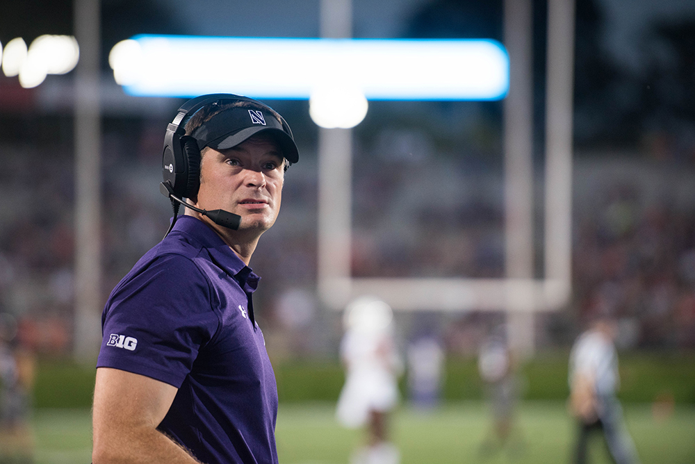 Eastern new head football coach Adam Cushing stands on the sideline during Northwestern's win over Bowling Green in 2017. Cushing was announced as the 25th head coach in program history by the athletic department Sunday night.