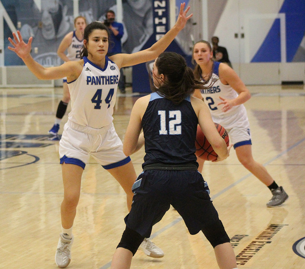 Eastern redshirt-freshman Camino Tellez plays defense on a Oakland City ball handler in the Panthers 102-43 win on Nov.6 at Lantz Arena. The Panthers are 3-3 after losing back-to-back road games last week.