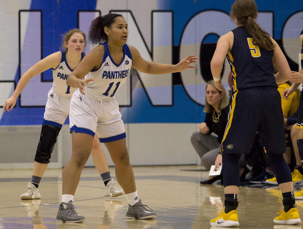 Eastern guard Karle Pace (11) plays defense on a Murray State ball handler in the Panthers' 75-67 win over the Racers on Thursday in Lantz Arena. Pace had a game-high 23 points in the win.