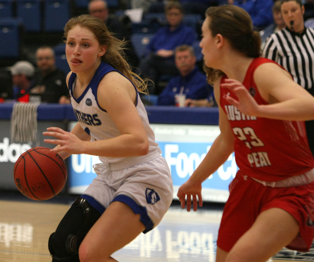 Eastern freshman guard Kira Arthofer works on an Austin Peay defender in the Panthers' 70-63 loss Jan. 19 in Lantz Arena.The Panthers have lost three games in a row and host Eastern Kentucky on Thursday.