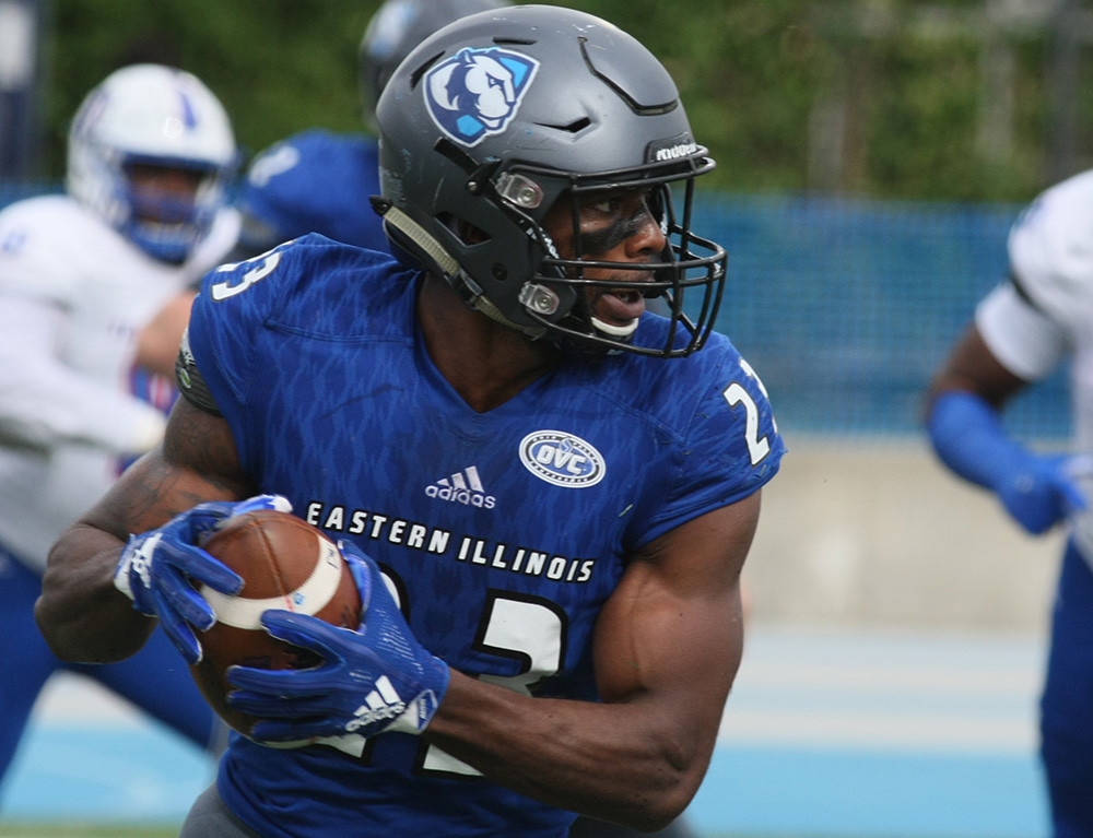 Former Eastern running back runs witht he ball in a 41-40 loss to Tennessee State last season at O'Brien Field. Johnson is an NFL hopeful now and compete and won MVP awards in two bowl games this offseason.