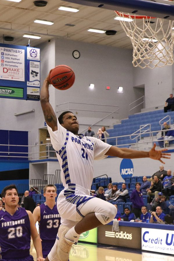Eastern forward Braxton Shaw goes up for a dunk in Eastern's 90-37 win over Fontbonne on Dec. 4. The Panthers host Murray State on Thursday and Austin Peay on Saturday.