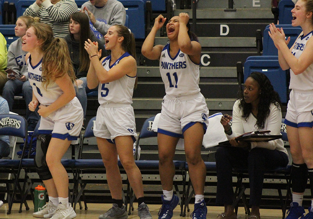 Members of the Eastern women's basketball team celebrate during the team's 102-43 win over Oakland City on Nov. 3. The Panthers are 7-6 this season, they were 3-26 last year.