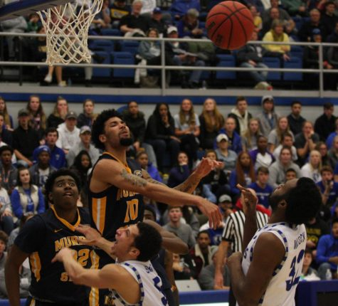 JaQualis Matlock puts up a shot as a Murray State defender tries to block it during Eastern's 83-61 loss in Lantz Arena Jan. 17.