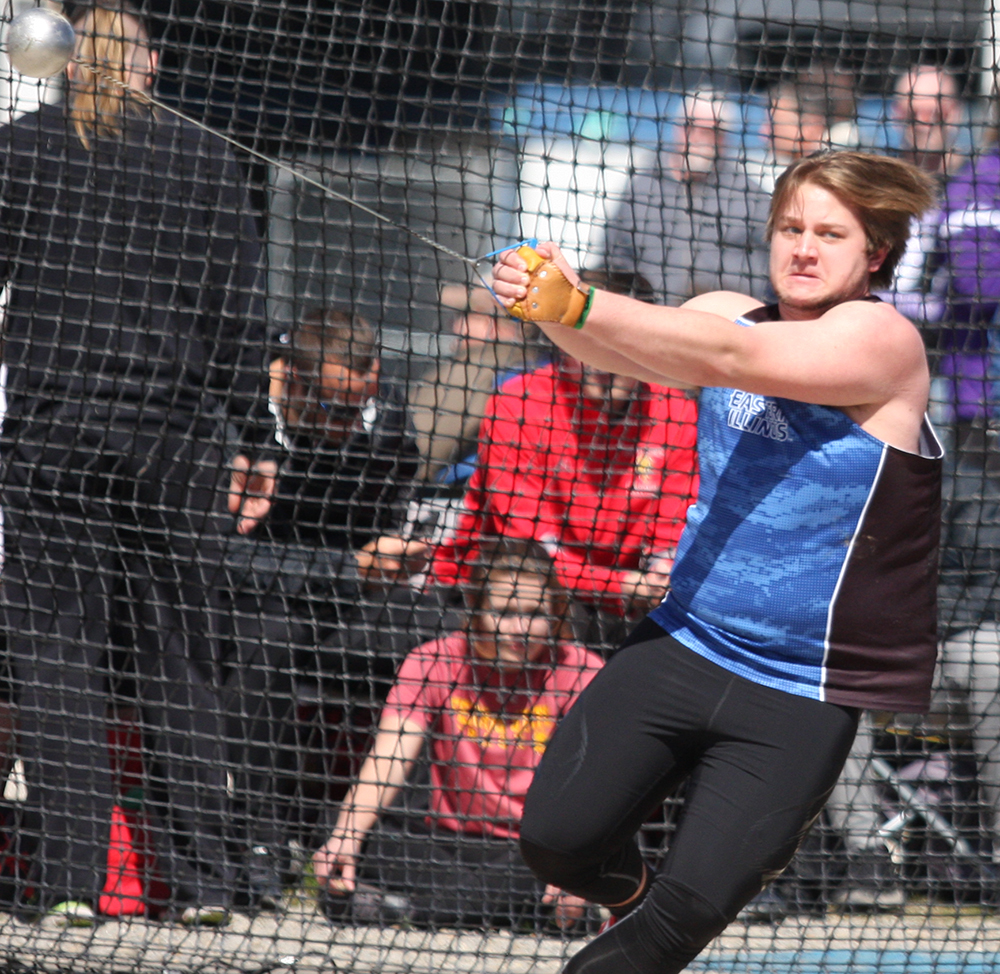 Dillon Birch competes in the weight throw during the Eastern Illinois Big Blue Classic in March. Eastern finished the meet second out of six teams.