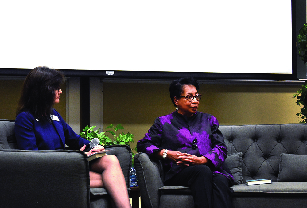 Dr. Loretta Prater (right) gives a presentation at Buzzard Auditorium on Wednesday evening.