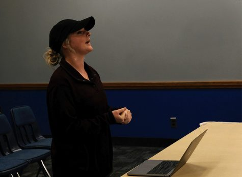Jennifer O'Boyle, a German major, adresses the senate about her proposed RSO Wednesday night at the Student Senate meeting in the Martin Luther King Jr. University Union.
