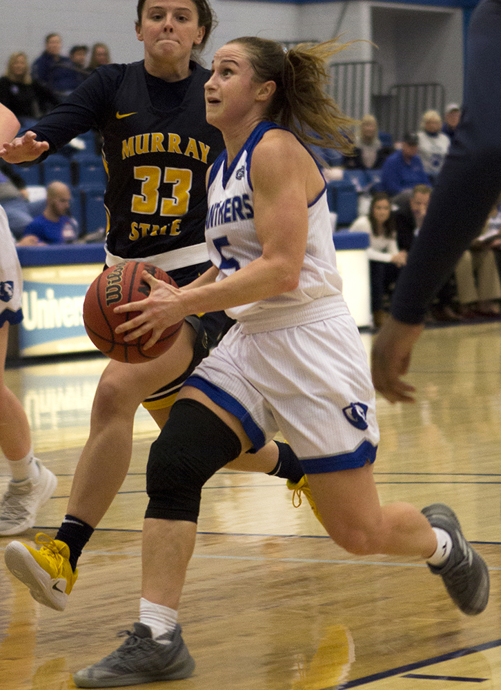 Analicia Haynes | The Daily Eastern News Eastern redshirt-senior Grace Lennox drives the lane in the Panthers' 75-67 win over Murray State on Jan. 17. The Panthers will meet Murray State on the road Thursday.