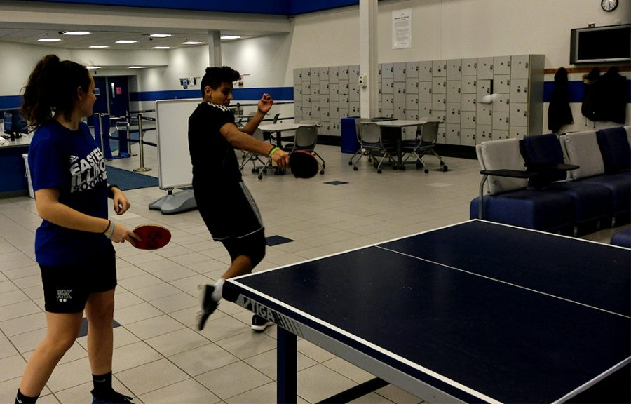 Ixtaso+Ag%C3%BCero+Campanon%2C+a+exercise+science+major%2C+and+Daniela+Vermeo%2C+a+freshman+sports+management+major%2C+play+table+tennis+Thursday+night+in+Lantz+Arena.