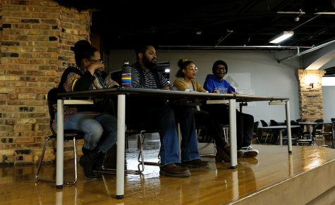 The panel for Black Queer Lives Matter answer questions from the audience Wednesday night in the 7th Street Underground. They started the discussion with their own personal stories about coming out.