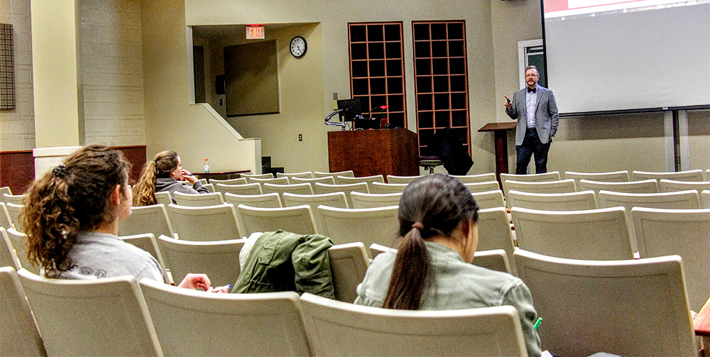 Director of accounting Nicholas Robinson, speaks with the crowd during the Income Tax Workshop Wednesday afternoon in Lumpkin Hall.