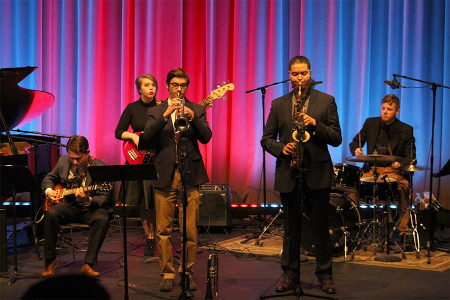 "To start off the Jazz Combos concert in the Doudna Fine Arts Center Theater, the Vanguard Quintet begins by playing ""Black Nile"", a song by Wayne Shorter. The members of this group consist of Joey LoCascio (left), Kathleen Kehoe (back left), Gabe Mansfield (center left), Jacob Williams (center right), and Corey Clark (far right)."