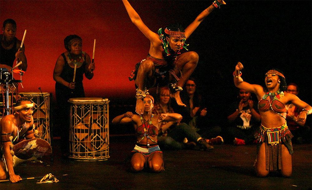Step Afrika! performs Ndlamu, a traditional dance of the Zulu people, Saturday night in the Doudna Fine Arts Center.