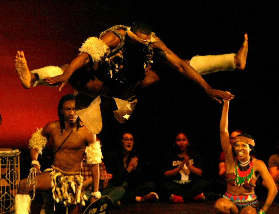 Step+Afrika%21+performs+Ndlamu%2C+a+traditional+dance+of+the+Zulu+people%2C+Saturday+night+in+the+Doudna+Fine+Arts+Center.