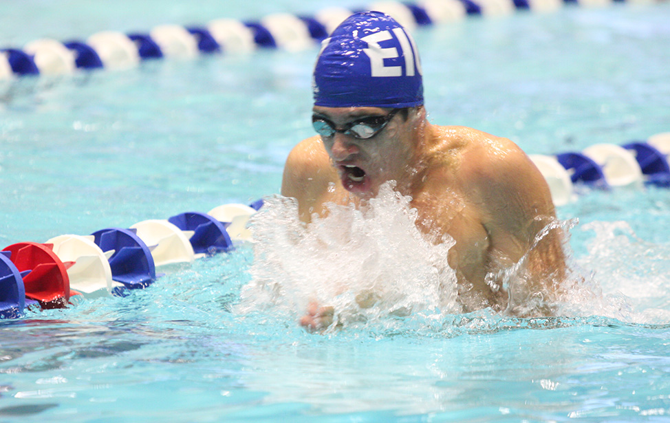 Eastern freshman Jarod Farrow swims in a meet against Saint Louis on Oct. 19 in Lantz Arena. The Panthers travel to the Summit League Championship on Wednesday.