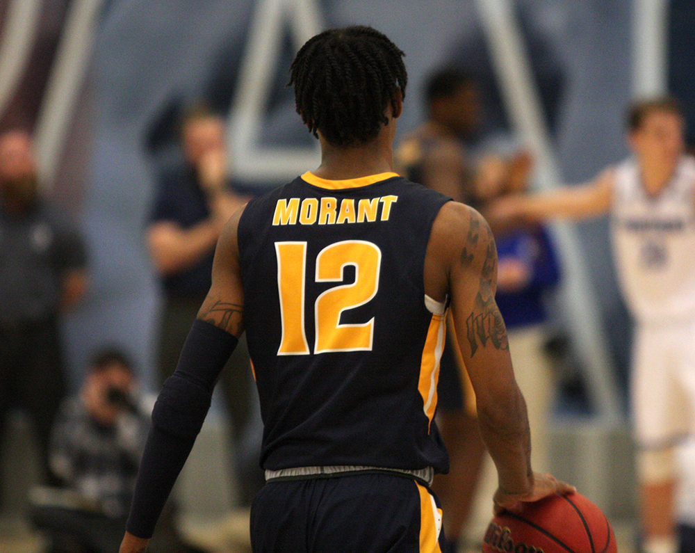 Murray State guard Ja Morant takes the ball up the court in Murray State's 83-61 win over Eastern on Jan. 17. Morant leads the Ohio Valley conference in scoring (24 ppg) and assists (10 apg).