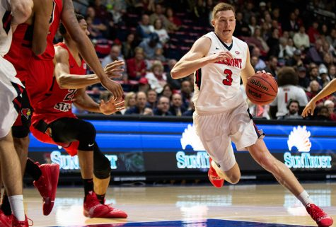 Belmont senior Dylan Windler drives the lane in Belmont's 100-89 win over Illinois State on Nov. 10. Windler is averaging 19.2 points and 10 rebounds per game for the Bruins this season.
