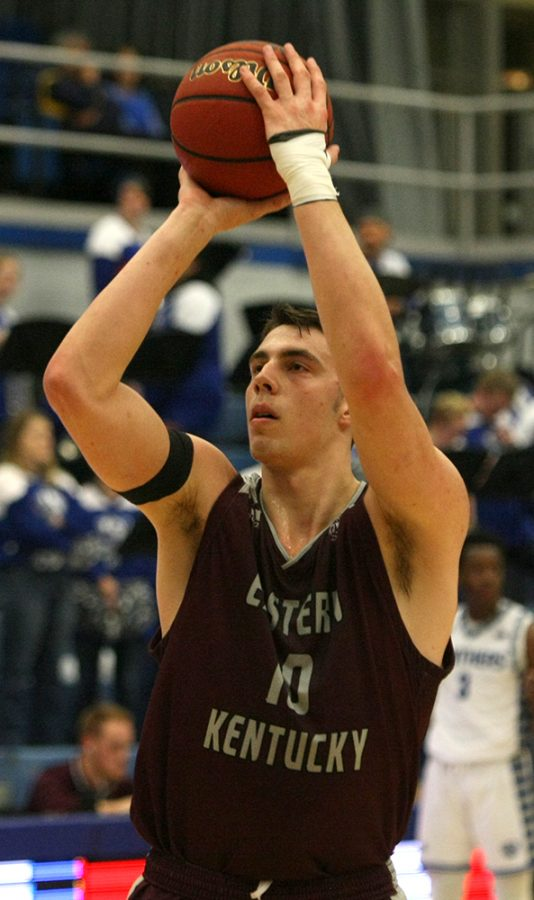 Nick Mayo shoots a free throw in Eastern Kentucky's 67-66 loss to Eastern on Jan. 31. Mayo leads the Ohio Valley Conference with 141 made free throws.