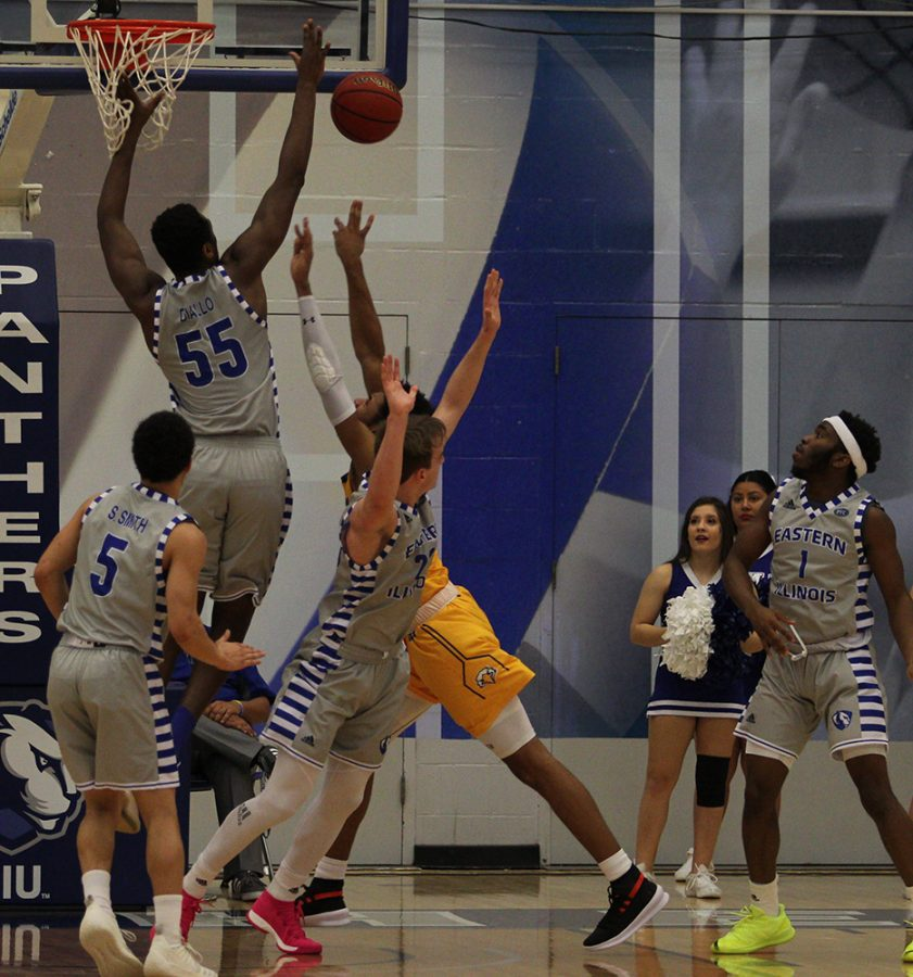 Aboubacar+Diallo+blocks+a+shot+during+Eastern%E2%80%99s+84-78+loss+to+Morehead+State+Feb.+1+in+Lantz+Arena.+The+block+was+Diallo%E2%80%99s+98th+career+block%2C+which+put+him+in+sole+possession+of+third+place+on+Eastern%E2%80%99s+career+blocks+list%2C+just+ahead+of+Muusa+Dama+who+had+97.