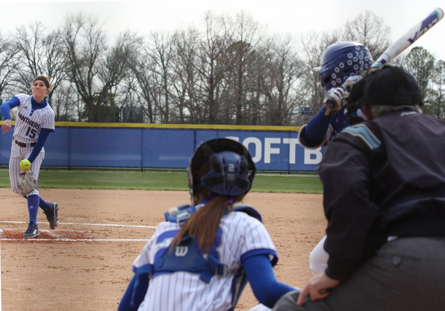 Jessica Wireman delivers a pitch to an Indiana State batter during Eastern's 2-0 victory in April 2018 at Williams Field.