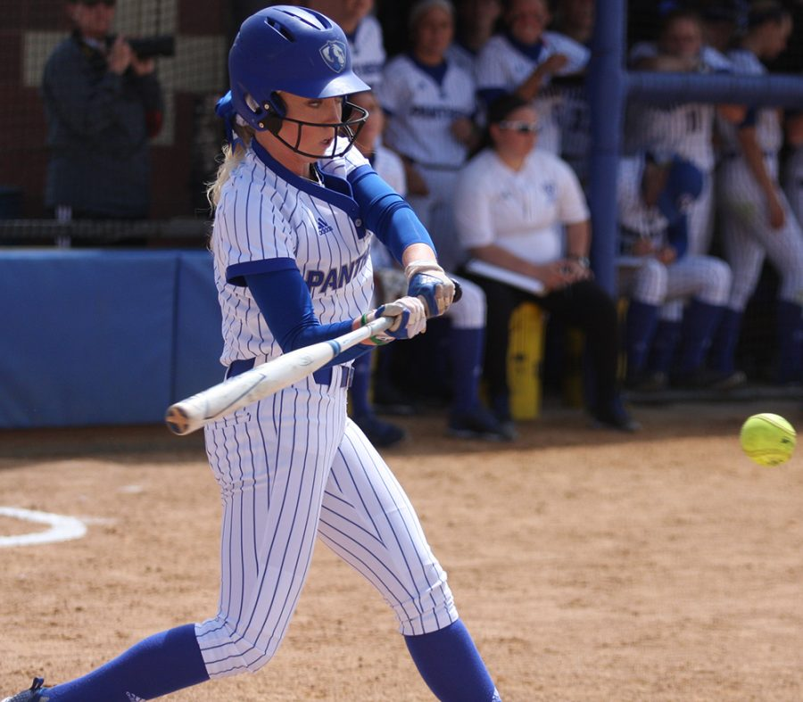 Megan Burton swings at a pitch during an at-bat in the Eastern softball team's doubleheader against Jacksonville State at Williams Field in April of 2018.