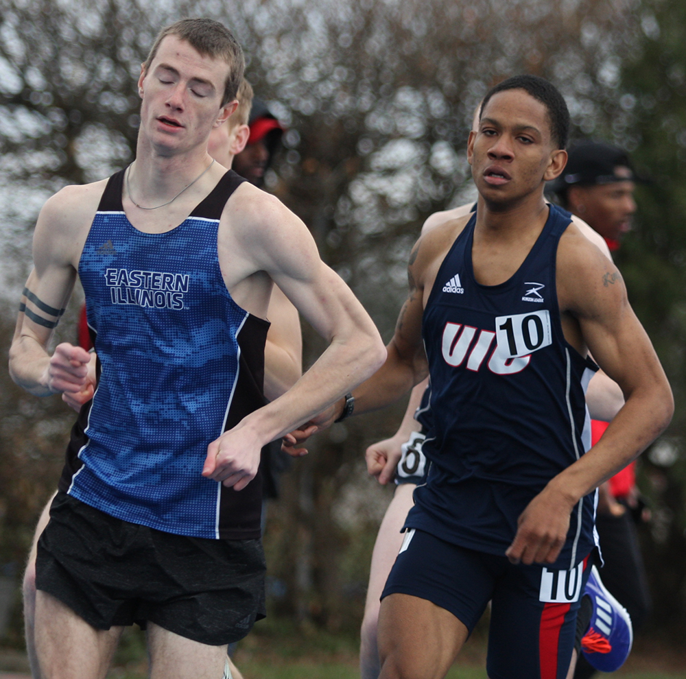 File Photo | The Daily Eastern News Joe Carter competes in the 1500 meter run during the EIU Big Blue Classic in March 2018 at O'Brien Field. Carter finished 18th in the event.