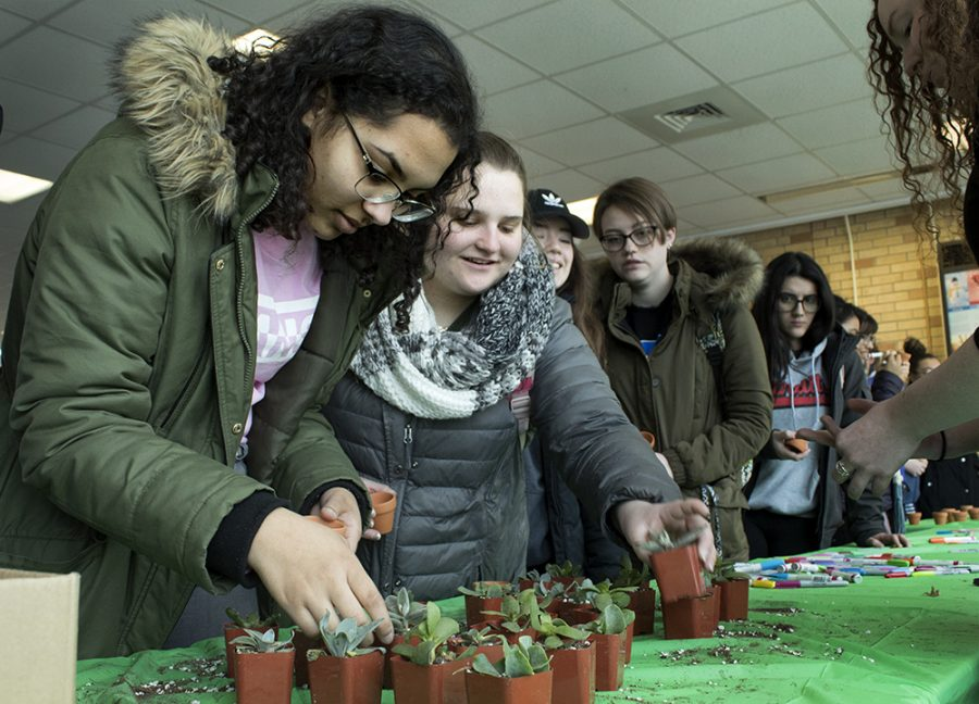 """Special education majors Kendra Moore and Hailey Lowery, both freshman, are trying to pick out which succulent they would like to plant at the Martin Luther King Jr. Union on Tuesday afternoon. Hailey said she came to pick out a succulent because """"[it's] somthing little and somthing cute for my room."""""""