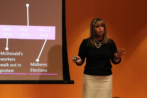 "Eastern alumna Julie Proscia gives her presentation, ""The #MeToo Movement: Transition From Outrage to Action"", for Women's History Awareness Month in the Doudna Lecture Hall on Tuesday night. The presentation was to bring awareness about how sexual assault and sexual abuse victims today are reclaiming and stating their power as women."