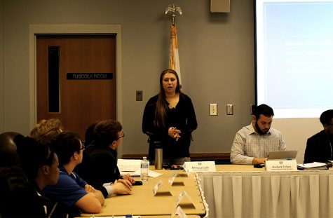 Student Body President Rebecca Cash, addresses the senate Wednesday night at the Student Senate meeting in the Martin Luther King Jr. University Union.