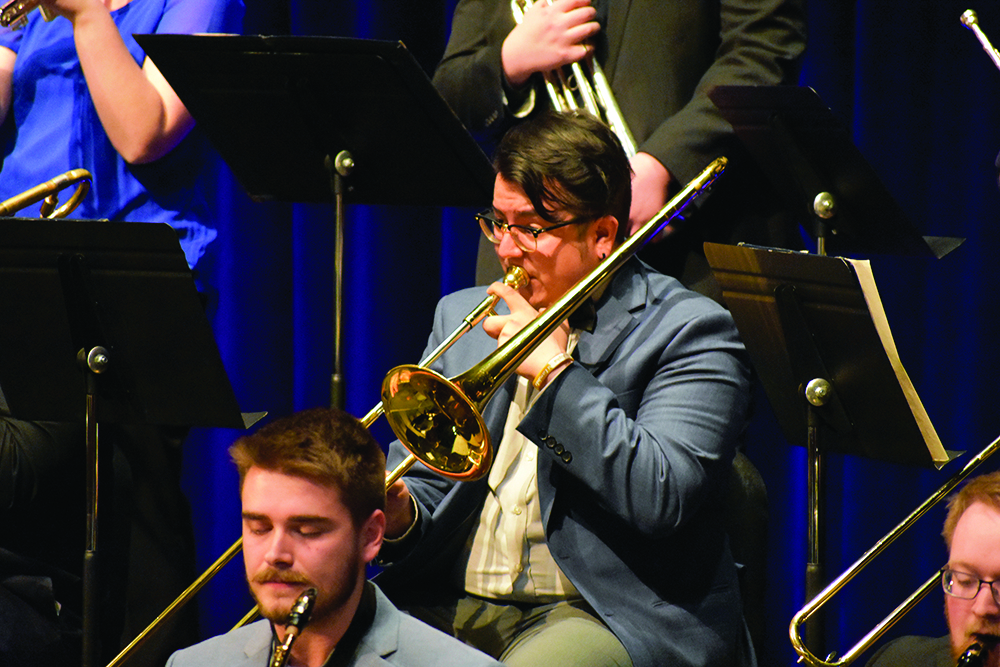 "Marcial Bustamante, MUS: Performance student, feature a piece ""Charade"" during the ""Jazz Goes To The Movies"" concert on Thursday evening in the Theatre of the Doudna Fine Arts Center."