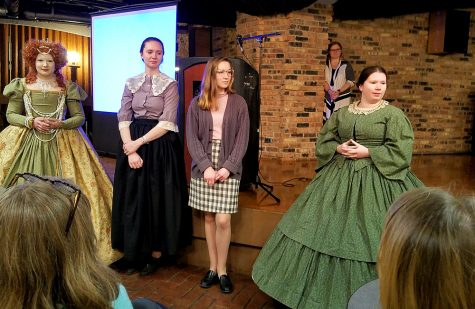 Students in the Living History Project perform Wednesday night at the Women's, Gender, and Sexuality Study Awards Ceremony at the 7th Street Underground.
