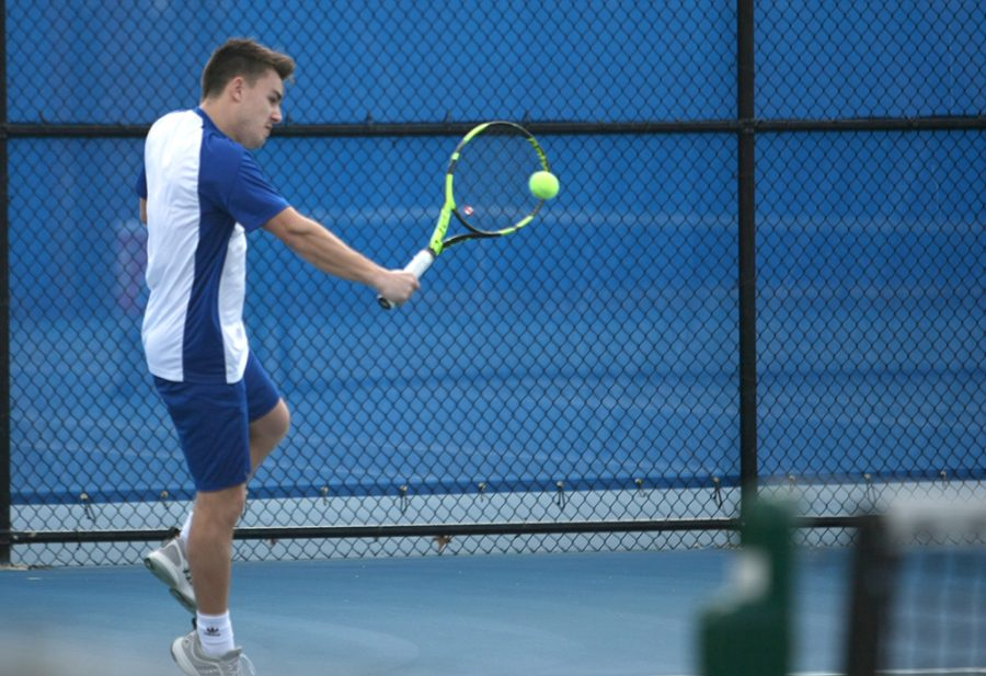 Eastern's Gertjan de Wilder returns a ball in a match against Jacksonvile State March 22 at the Darling Courts. Eastern plays Tennessee Tech and Alabama A&M this weekend.