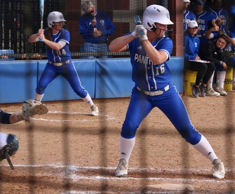 JJ Bullock | The Daily Eastern News Eastern's McKenna Coffman stands at the plate in the Panthers' 7-4 loss to Murray State on March 22. Eastern lost all four of its conference games this past weekend.