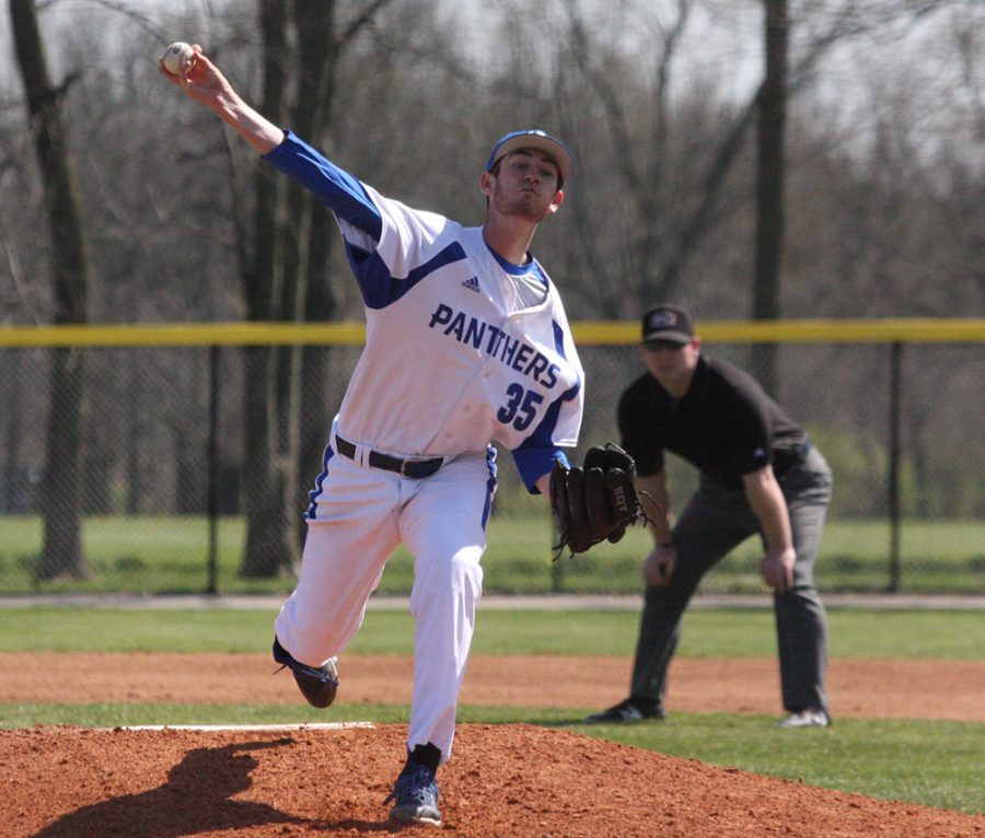 File Photo | The Daily Eastern News Eastern senior Tyler Jones fires a pitch in an Eastern game last spring. Eastern travels to play Tennessee Tech for three games this weekend.