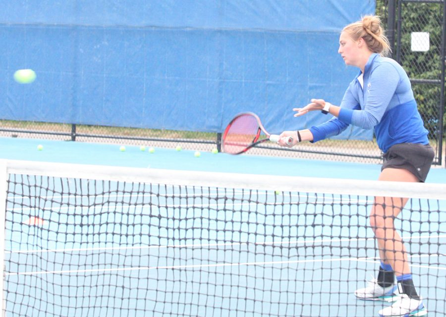 Eastern junior Shelby Anderson returns a ball in a practice this fall at the Darling Courts. The women's tennis team is 7-4 this season.